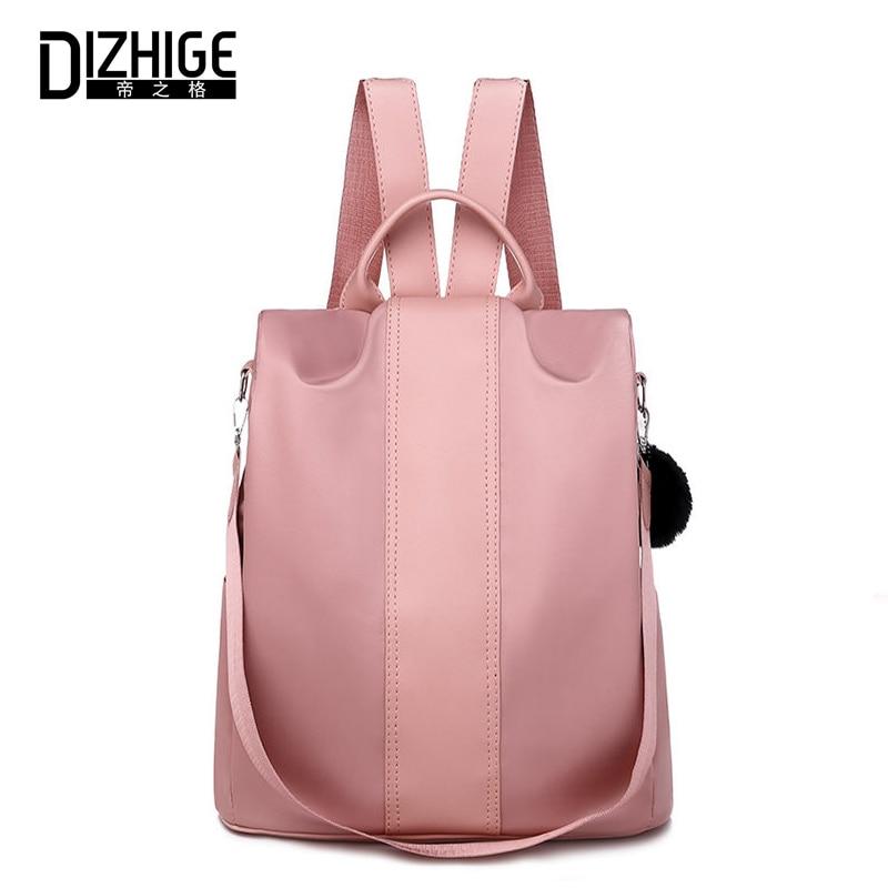 DIZHIGE Brand Luxury Waterproof Oxford Women Anti theft Backpack Multifunctional School Bag For Women Large Capacity Fur Bag New in Backpacks from Luggage Bags