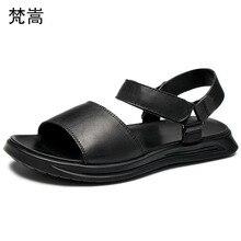 Men roman sandals Genuine Leather soft bottom beach shoes mens gladiator sandals summer Flip Flops casual Shoes beach cowhide цены онлайн