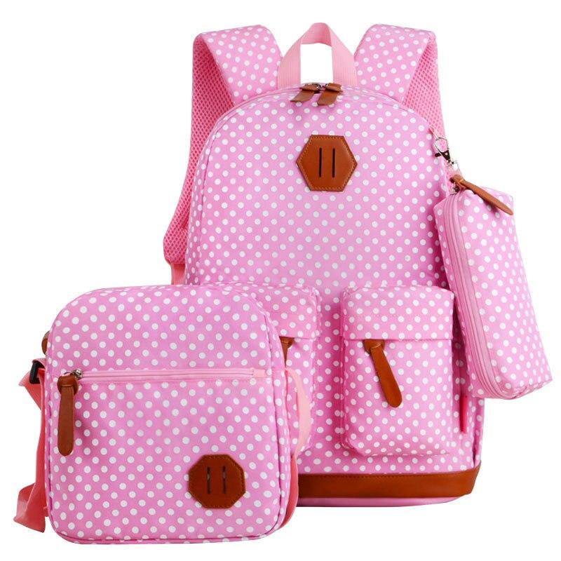 Polka Dots School Messenger Bag Pencil Case Set
