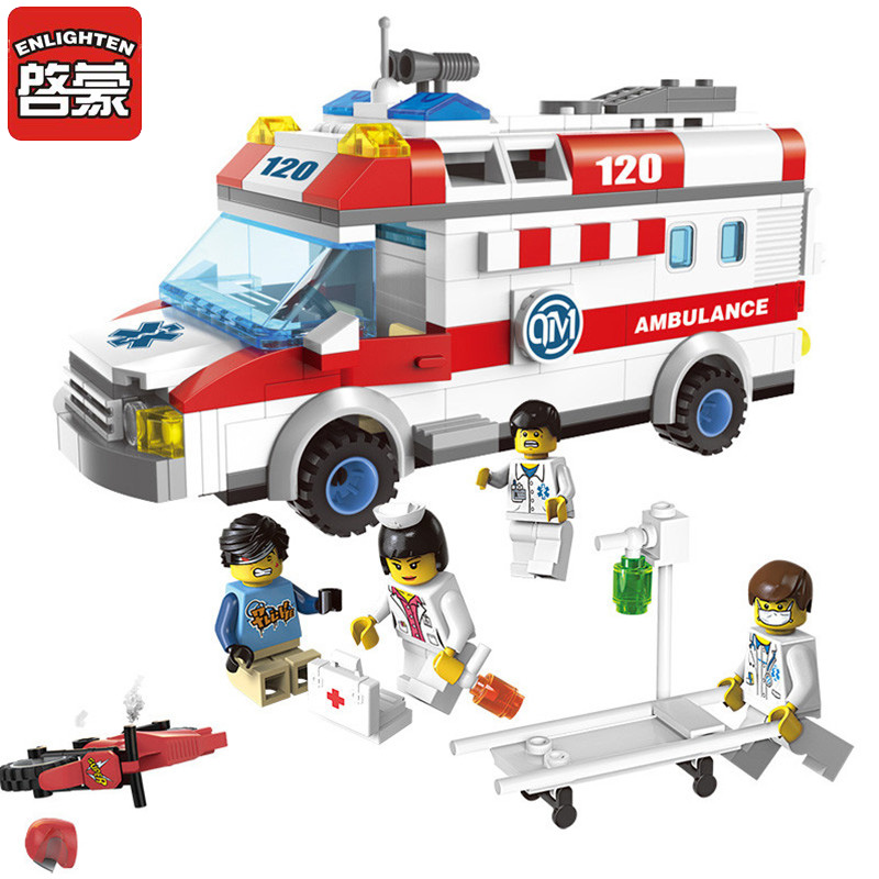 Enlighten 1118 Building Blocks Ambulance Model Blocks 328+pcs DIY Bricks Compatible Legoa City Building Blocks Toys For Children