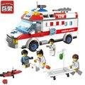 Enlighten 1118 bloque ambulancia serie diy 328 unids de camiones bloques huecos de ladrillos juguetes para niños de regalo bloques playmobil compatible lepin