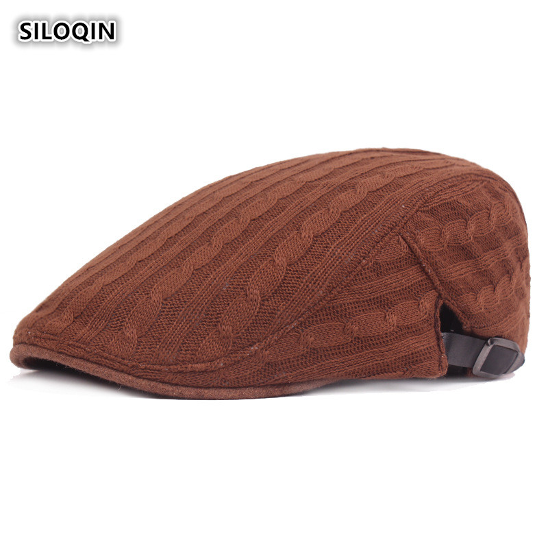 SILOQIN  Middle-aged Elderly Men's Autumn Winter Knitting Berets  Adjustable Simple Solid color Keep Warm Breathable Tongue Caps