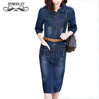 2017 Spring New Women Dress Brief Cowboy 7 minutes of sleeve Pure Color High Quality Vestidos Leisure Buttons Clothing LJ210