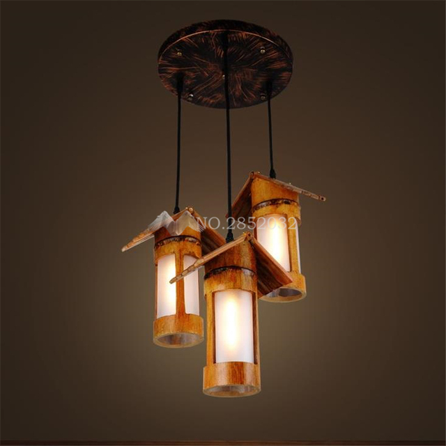 American Retro Country Pendant Lights Wood Lamps Led Warm Lighting Fixtures For Home Bar Decorative