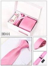 leisure new men pink neckwear male mariage necktie solid gravata formal business kravat gent wedding cufflink hanky neck tie set