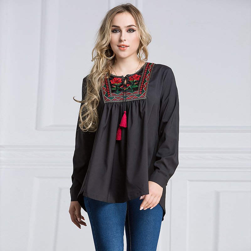 Women's Lady Blouse Shirt Top Long Sleeve Round Collar Embroidery Fashion Large Size Blouse FS99