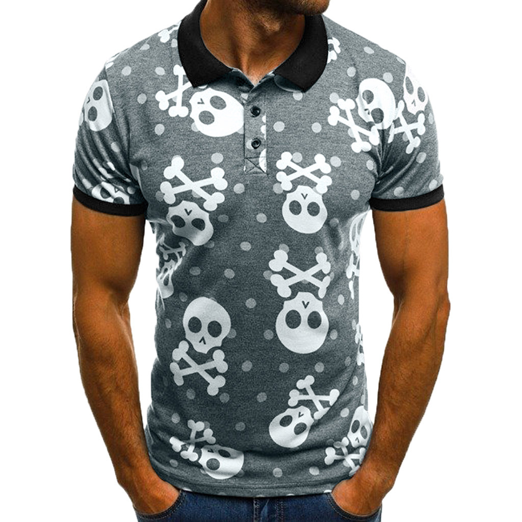Polo   Shirt Men Quick Drying 2019 Breathable Men's   Polo   Shirt Turn Down Collar Summer Skull Print Short Sleeve Fashion Casual Top