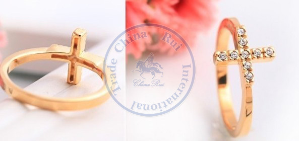 rings finger Fashion popular Jewelry for women Girls lady cross cystal simple desgin CN post