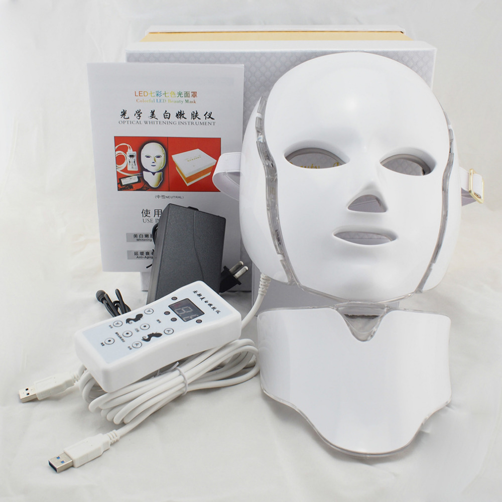 LED 7 Colors Light Microcurrent Facial Mask Machine Photon Therapy Skin Rejuvenation Facial Neck Mask Whitening Electric Device anti acne pigment removal photon led light therapy facial beauty salon skin care treatment massager machine