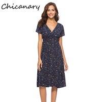 Chicanary Floral Print Wrap V neck Chiffon Dress with Elastic Band Waist Bohemian Short Sleeve Midi Dress