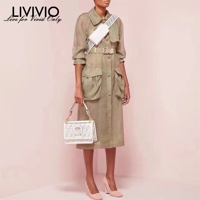 [LIVIVIO] Streetwear Plus Size Long Sleeve   Trench   Coat Belt Waisted Women Clothes 2019 Summer Korean Fashion Clothing New