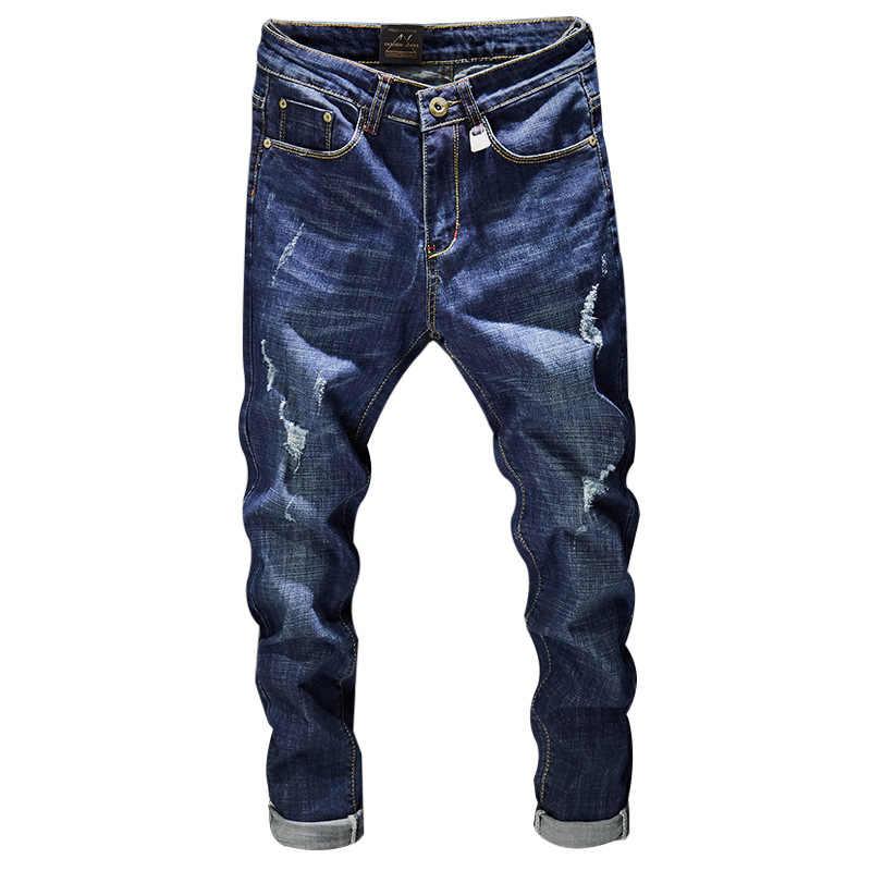2019 мужские новые модные рваные джинсы мужские повседневные хлопковые тонкие синие длинные брюки мужские джинсы байкерские осенние джинсы