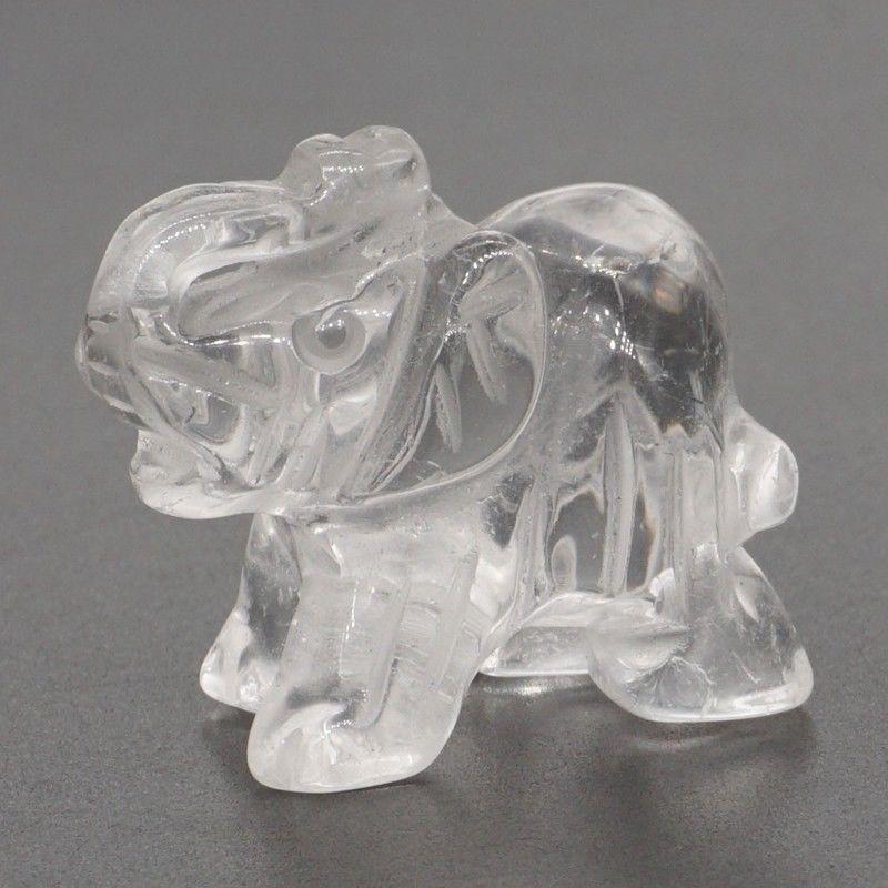 Elephant Figurines Craft Carved Natural Stone Clear Quartz Mini Animal Statue Decor Chakra Healing 1.5 Inch