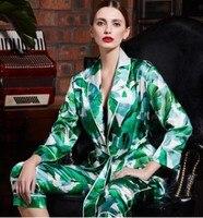 Женский Шелковый Пижамный костюм 100% Шелковый комплект из двух предметов Домашняя одежда брюки с длинными рукавами