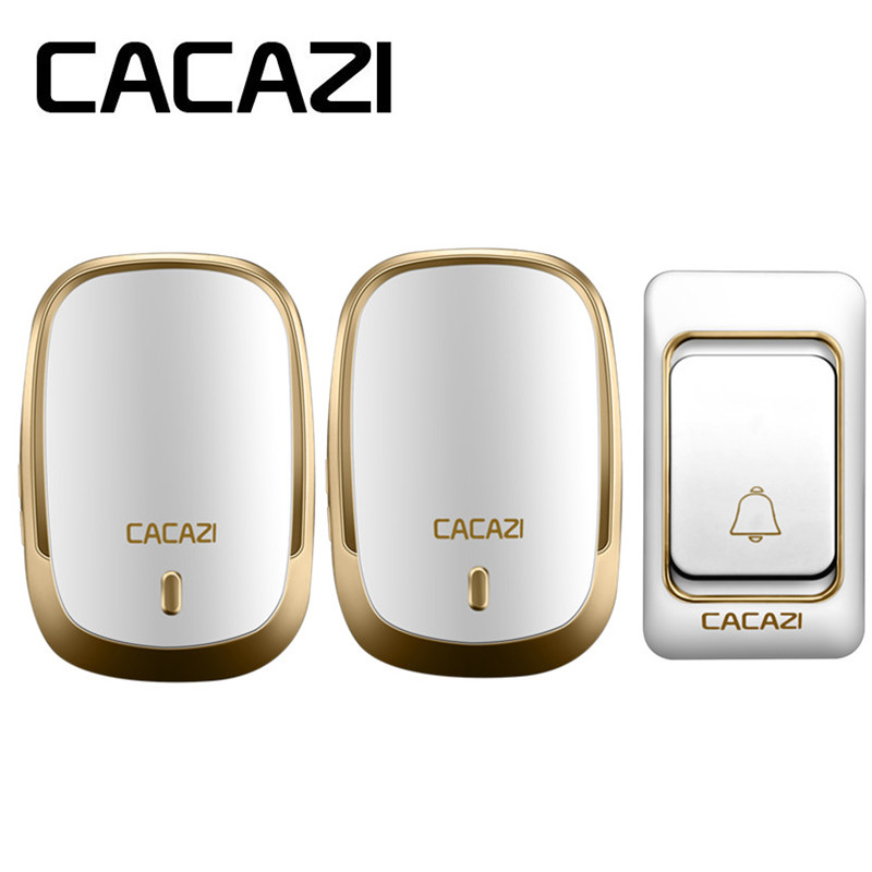 CACAZI Wireless Waterproof Doorbell Long Range Calling Bell DC Button Battery Operated 200M Remote Rings 6 Volume Door 36 Chime cacazi white black long range wireless doorbell dc battery operated 300 m remote control doorbell rings 6 volume door chime 48