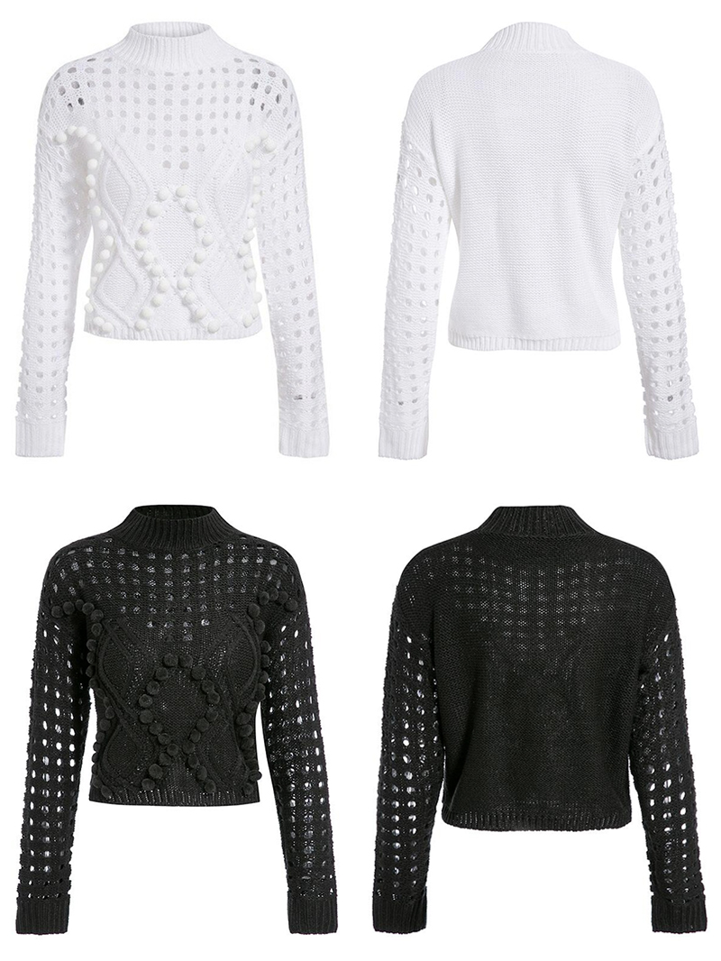 White Black Long Sleeve Hollow Out Knitted Sweater