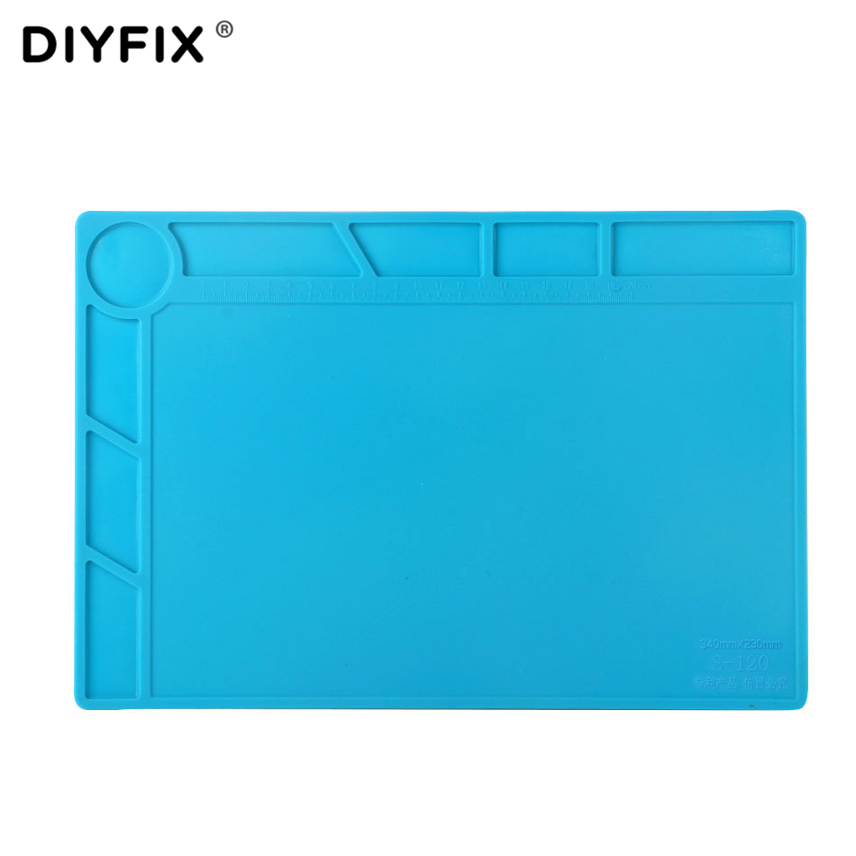 DIYFIX 34x23 cm Wärmedämmung Silikon Pad Schreibtisch Matte Wartung Plattform BGA Löten Reparatur Station mit 20 cm skala Lineal