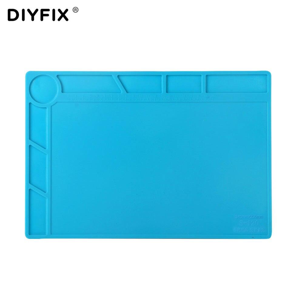 DIYFIX 34x23cm Heat Insulation Silicone Pad Desk Mat Maintenance Platform BGA Soldering Repair Station with 20 cm Scale Ruler