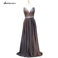 Black Chiffon Formal Colorful Beading Hand Work Evening Dressess Deep V Long Prom Dress Vestido De