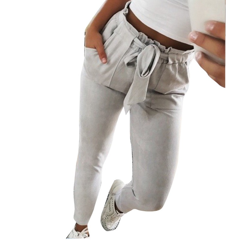 Nibesser Skinny Women Pants Casual Striped High Waist Elastic Trousers Ladies Sweatpants Fashion Bow Tie Stretch Pencil Pants