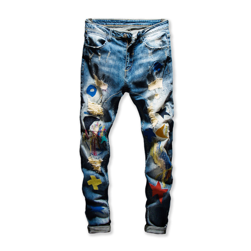 MORUANCLE Men Hi Street Ripped Denim Pants With Patchwork Fashion Streetwear Distressed   Jeans   Trousers Colorful Destroyed   Jeans