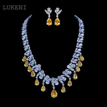 LUKENI New Luxurious Classic White Color AAA Zircon Yellow And Clear Zircon Pendant Earrings And Necklaces Wedding Jewelry Sets