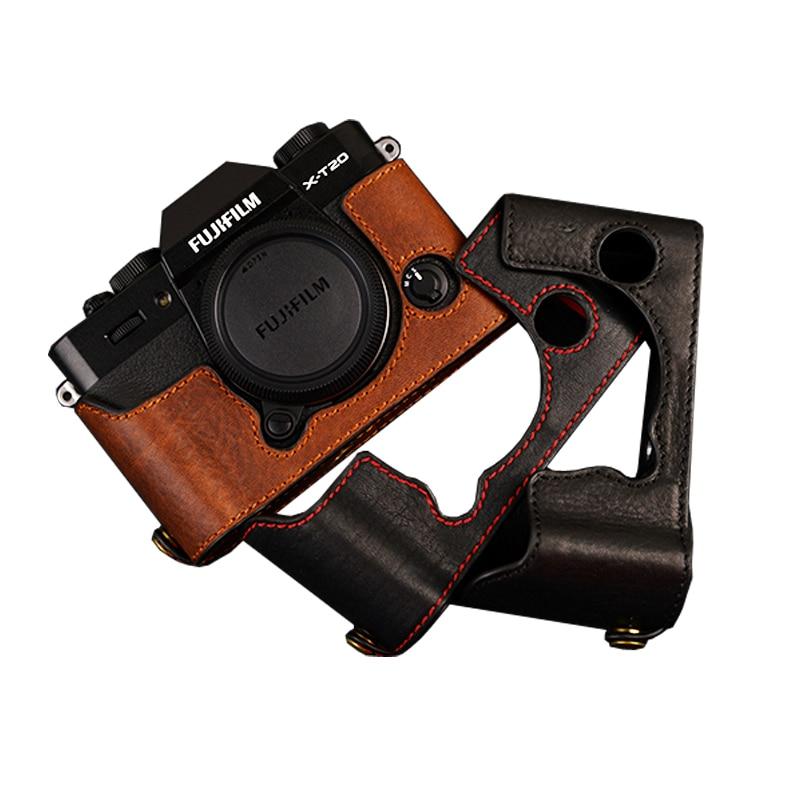[VR] Handmade Genuine Leather Camera case Half Body For Fujifilm XT10 XT20 Camera Bag Cover Vintage Case mr stone genuine leather camera case video half bag for fuji fujifilm xt10 xt20 xt 10 xt 20 retro vintage bottom case