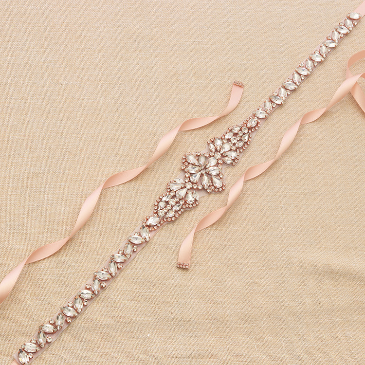 Jonnafe Shine Rose Gold Rhinestone Crystal Bridal Belt and Sash Handmade Wedding Dress Waistband Dress Belt Accessories