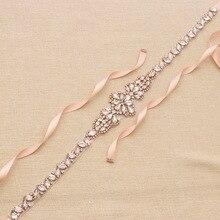 Jonnafe Shine różowe złoto Rhinestone Crystal Bridal pas i szarfy Handmade suknia ślubna pas sukienka akcesoria do paska
