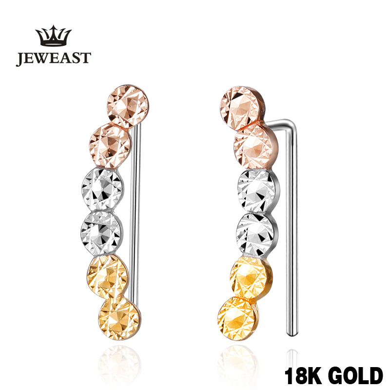 18k Gold Rose Yellow White Women Stud Earrings Beads Shape Individuality Female Genuine Jewelry Gift For Girlfriendhot Sale New 18k rose gold women stud earrings double balls fine engaged wedding jewelry fashion female delicate gift hot sale trendy party