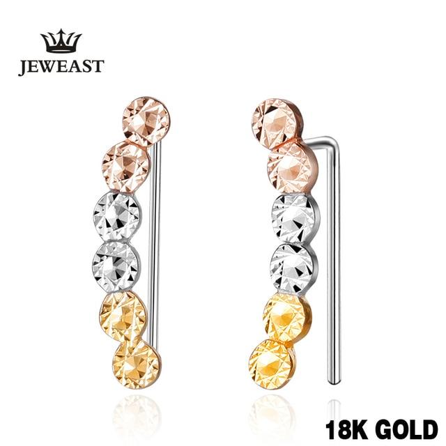 18k Gold Rose Yellow White Women Stud Earrings Beads Shape Individuality Female Genuine Jewelry Gift For Girlfriendhot Sale New