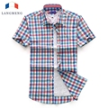 Langmeng 2016 New Arrival Cotton plaid Casual Shirts Summer Men Short Sleeve dress Shirts Fashion Man Shirt camisa masculina