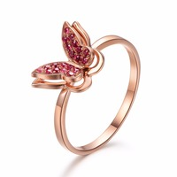 Robira Free Shipping Women Rings 14K Rose Gold Butterfly Rings Red Ruby Gemstone Jewelry Fashion Charm