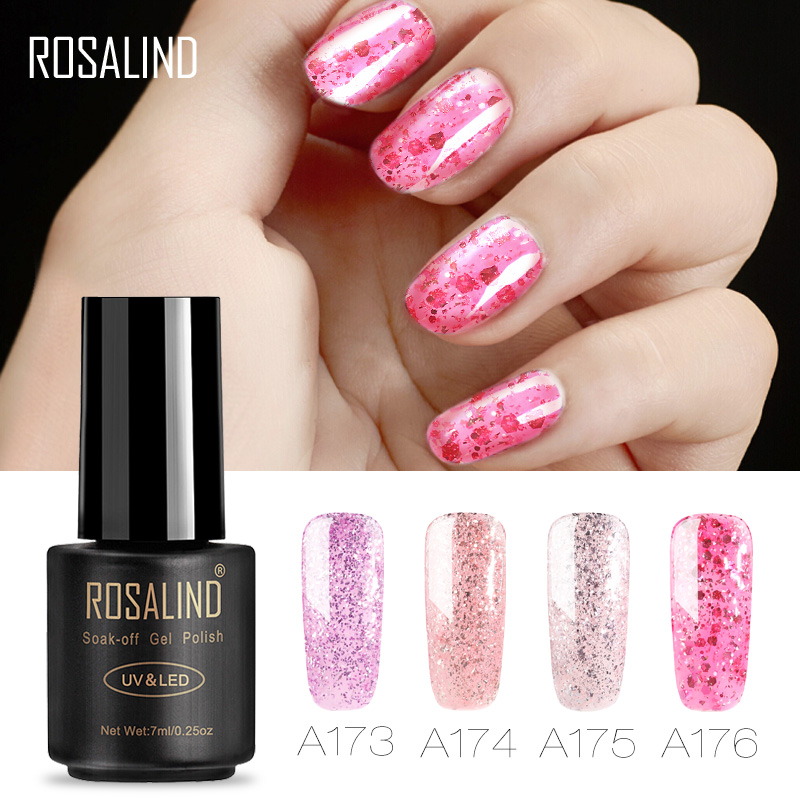ROSALIND Gel 1S 7ml Nail Polish Soak Off Luminous Rose Gold Glitter Primer For Art UV Soak Off Removable Gel Lacquer