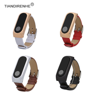 Original for Xiaomi Mi Band 2 Leather Wrist Metal Shell Leather Band Miband 2 Anti Lost Bracelet for Miband 2 Wearable Device