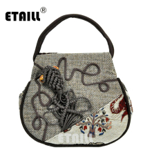 ETAILL 2018 India Style Elephant Embroidered Small Tote Bag Appliques Vintage Ethnic National Embroidery Shoulder Messenger