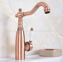 Deck Mounted Bathroom Basin Faucet Antique Red Copper Hot And Cold Sink Mixer Taps znf631
