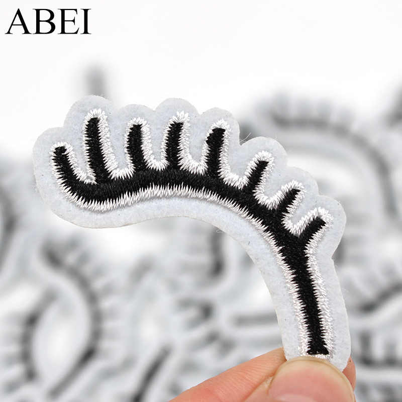 10pcs/lot Diy Iron On Eyelash Patches Embroidered Clothes Backpack Socks Shoes Hats Stickers Sewing Fabric Appliques Supplier