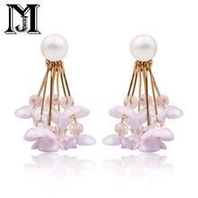 ФОТО jiamu fashion popular young abdiy stud long sea shell pearl ceramic flower tassel earring for women hand party wedding jewellery