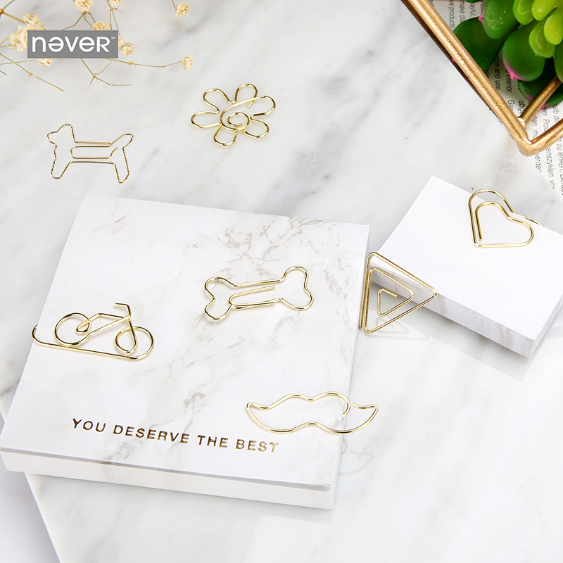Never Marble Series Paper Clips Gold Metal Clips cute Shaped Office Accessories Kawaii Stationery Documents And Money Clip цена и фото