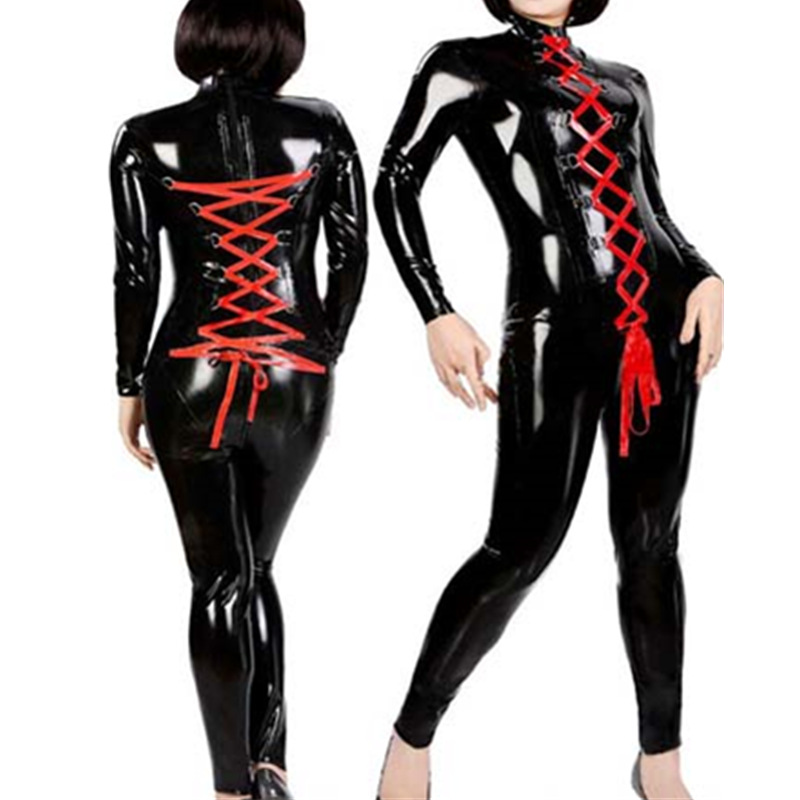 Buy Fashion Red Punk Gothic PVC Leather Jumpsuit Sexy Latex Catsuit Women Fetish Wet Look Lace Zipper Bodysuit Costume Clubwear