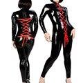 Moda Red Punk Gothic PVC Mono De Cuero Sexy Mujeres Catsuit de Látex Fetiche Wet Look Lace Up Zipper Body Clubwear Del Traje