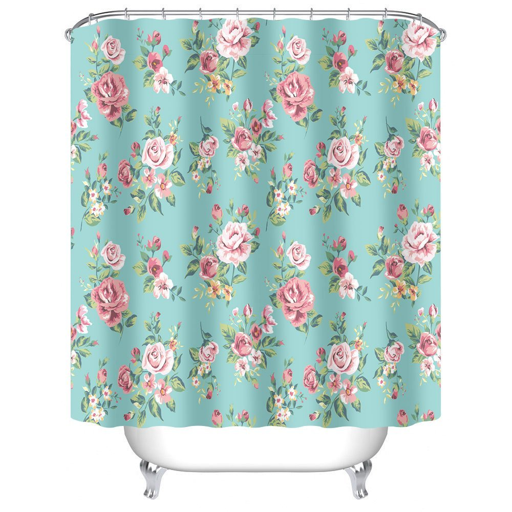 CHARMHOME Pink Rose Flower With Leaves Bathroom Shower