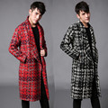 2016 European brand runway Metrosexual warm coat men long thick coat hair stylist F90 P175