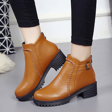 Boots leather women retro shoes 2017 new arrival old style wedges female work ankle boots pigskin spring/autumn shoes