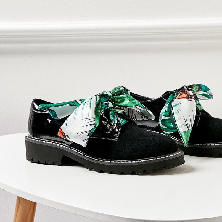 Marca De Arco nudo Zapatos Creeper Oxford Pisos Slip Alta Mujeres on Las Negro Señaló Mocasines Calidad Cuero Oxfords Plataforma qnWBUxFfzg