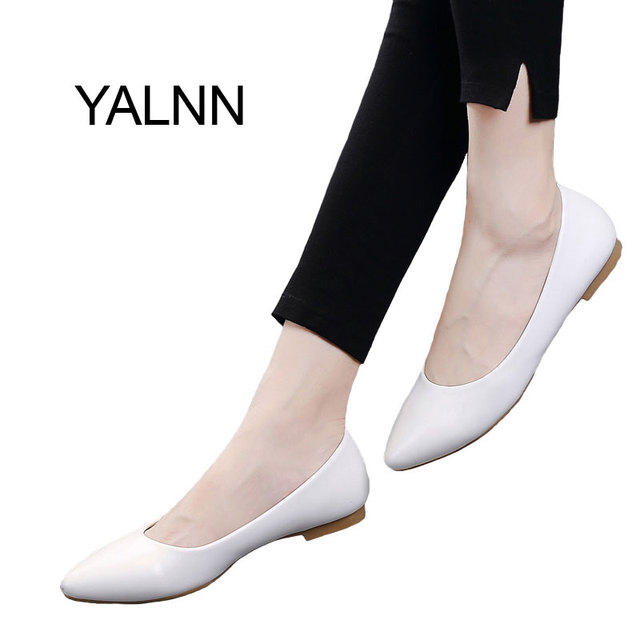 b2445ddda1ceb YALNN Fashion 2019 New Flat Women Shoes Leather Platform Heels Shoes White  Women Pointed Toe Leather
