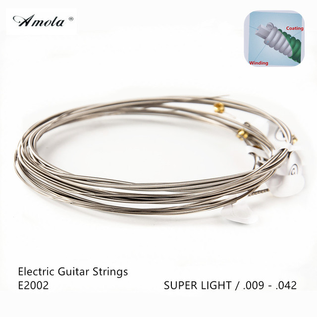 Amola E2002 Electric Guitar Strings  ultra thin Coating  Super Light 009-042 Musical Instruments 5 Sets