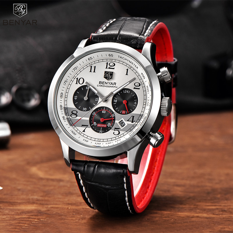 Watches Men Luxury Brand Multifunction Benyar Design Quartz Mens Sport Wristwatch Dive 30m Casual Watch Relogio Masculino New
