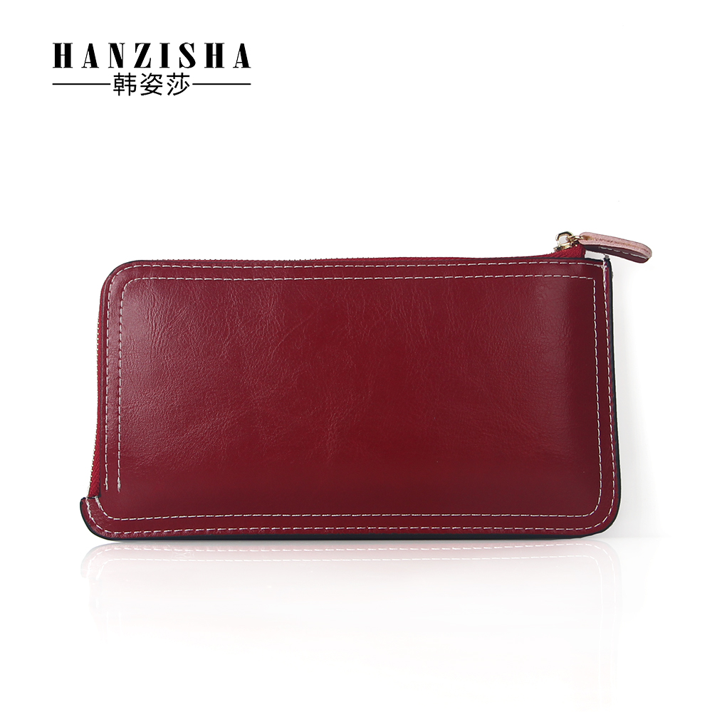 HANZISHA 2017 Genuine Leather Coin Purse cowhide Zipper Short Retro women wallet Cell phone Card Holder Lady Wallet Purse Clutch 2017 genuine cowhide leather brand women wallet short design lady small coin purse mini clutch cartera high quality